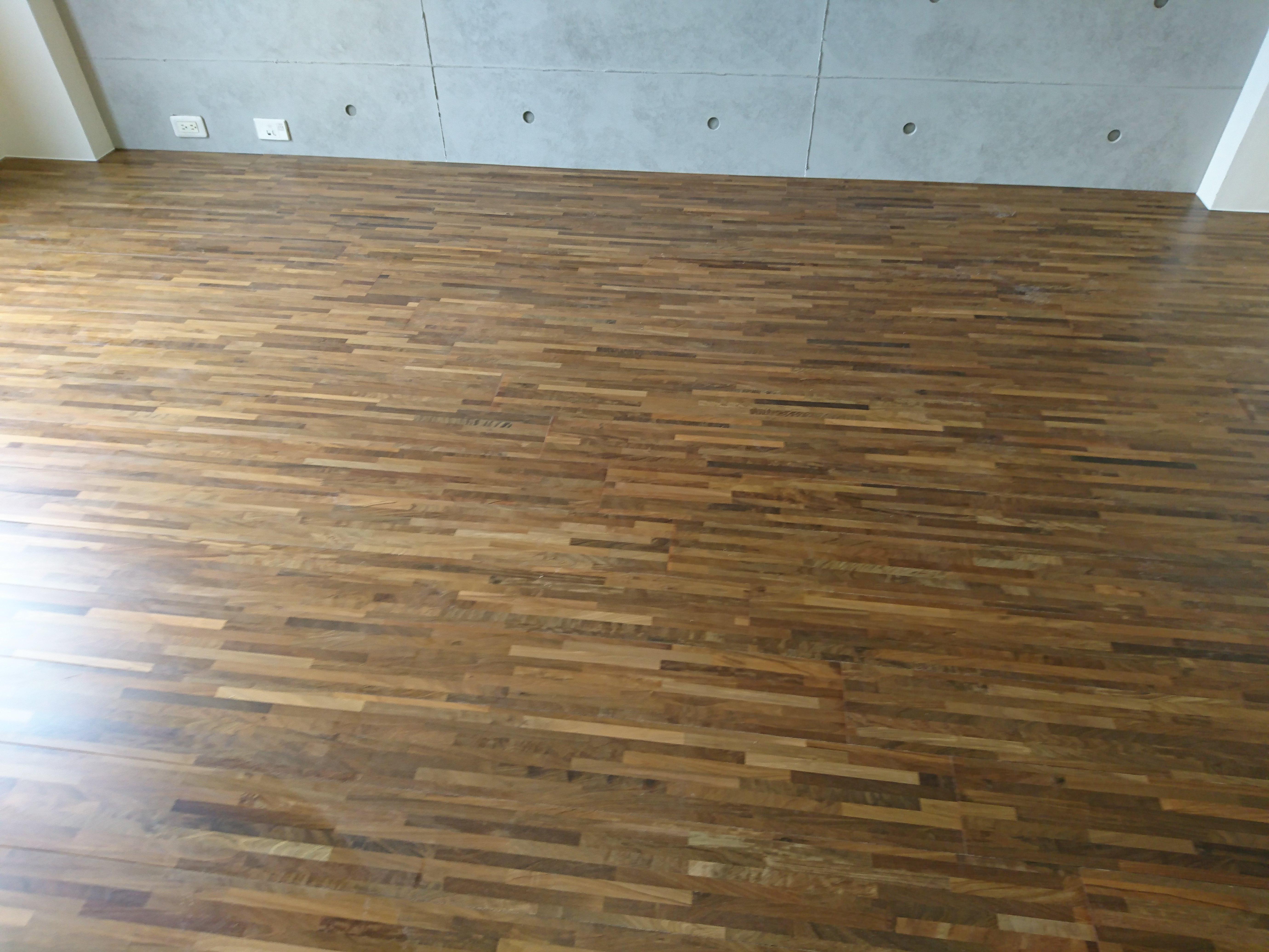 新原古 綠檀拼接海島複合地板 架高施工 (林口)